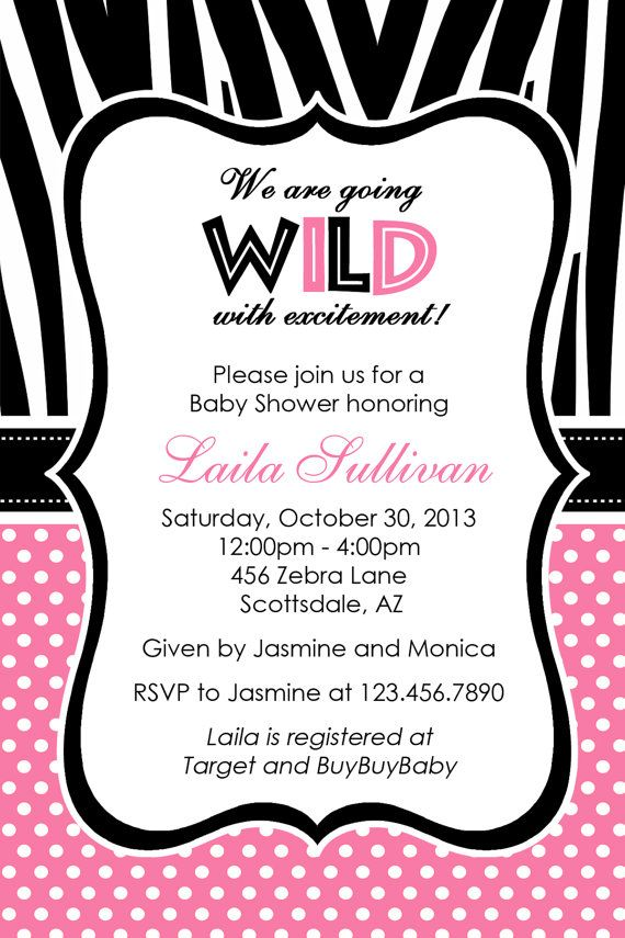 Pink Zebra Baby Shower Invitation by Honeyprint on Etsy | Things to ...