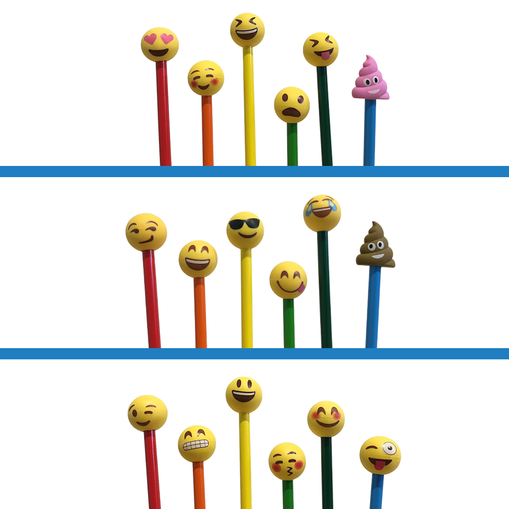 Emoji Pencil Eraser Toppers 3 Pack