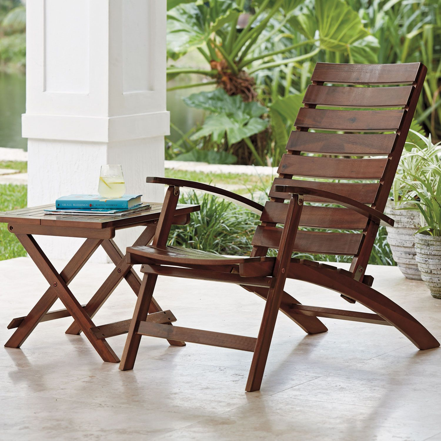 The Pasadena Outdoor Folding Chair And Table Have A