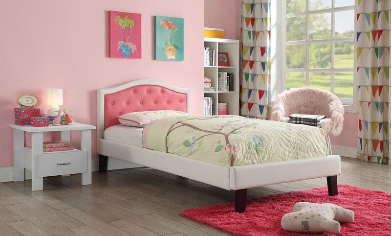 Acme 30785f Rheanna Pink And White Faux Leather Tufted Headboard Full Bed Bookcase Bed Bed With Drawers Furniture