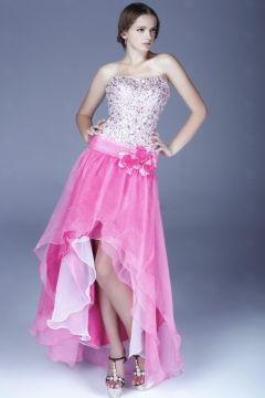 Mini rose robe bustier à pétale