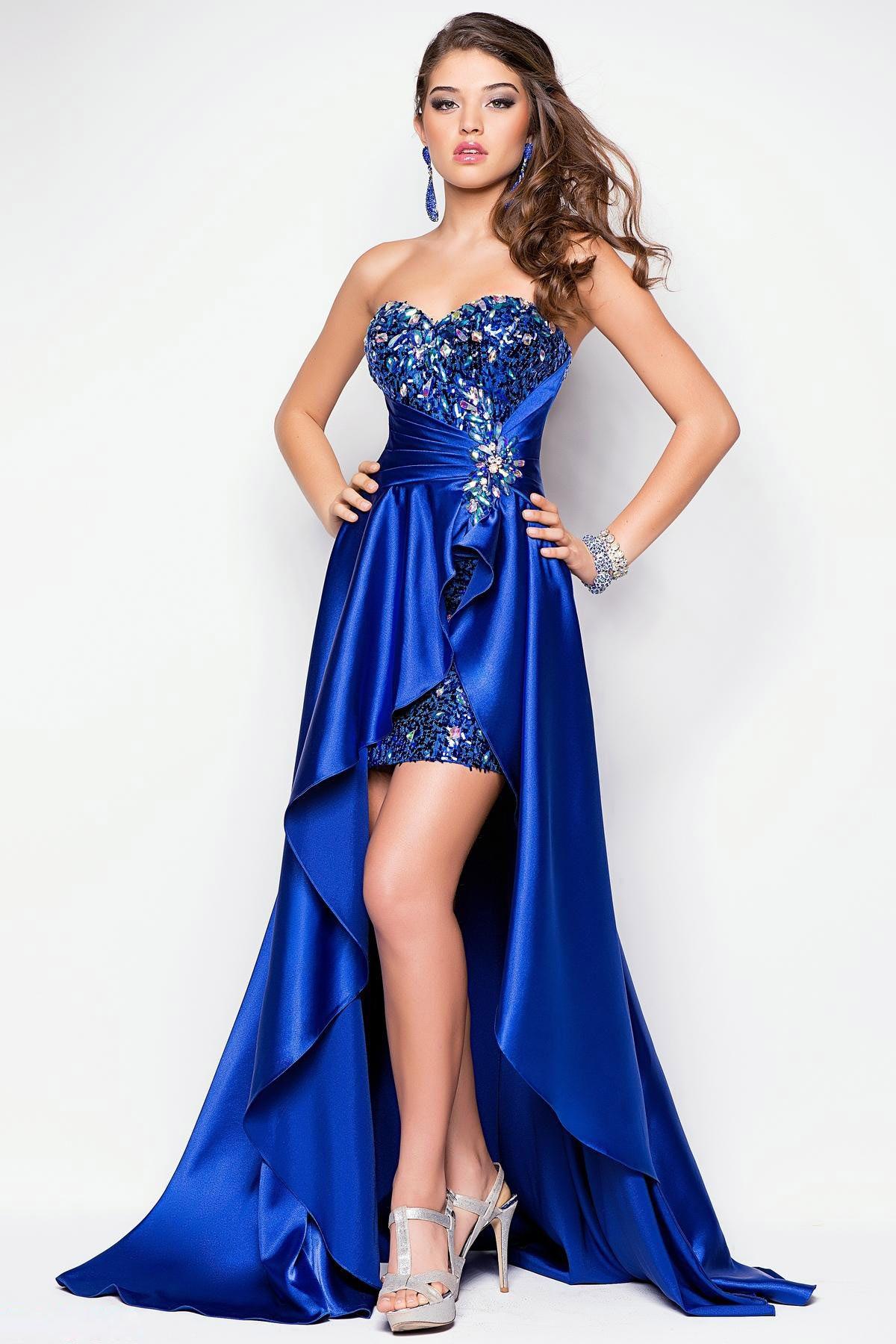 2013 Prom Dresses High Low Sweetheart Elastic Satin With Rhinestone ...