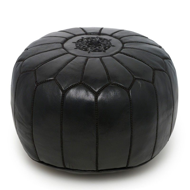 Black Moroccan Pouf With Images Moroccan Leather Pouf Leather