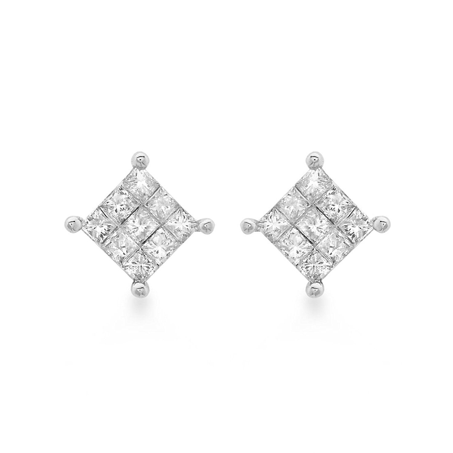 ip stud square diamond princess silver earrings carat cut com t sterling walmart w