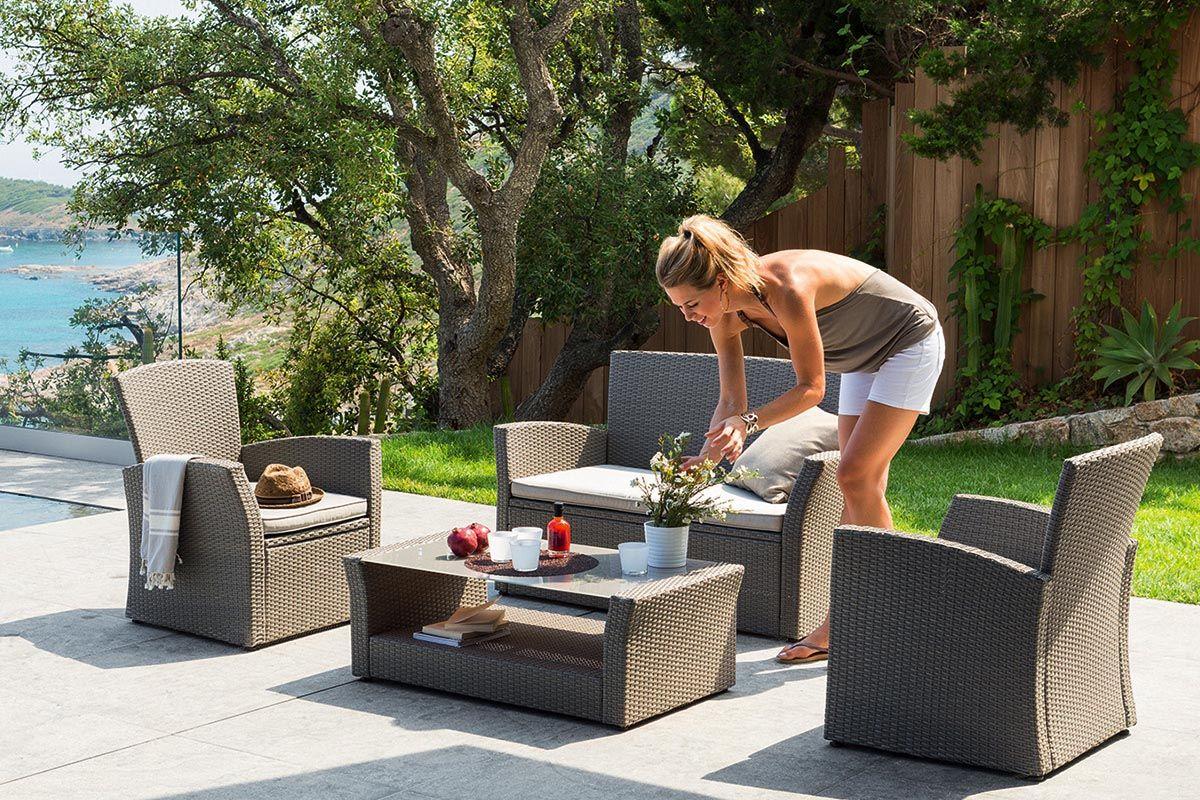 salon de jardin bora bora taupe hesperide jardin. Black Bedroom Furniture Sets. Home Design Ideas