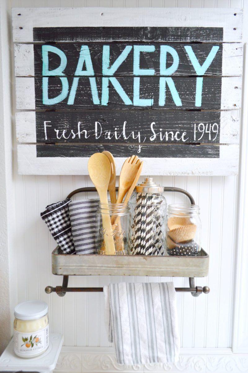 Farmhouse Kitchen Vintage Wood Bakery Sign Kitchen decor