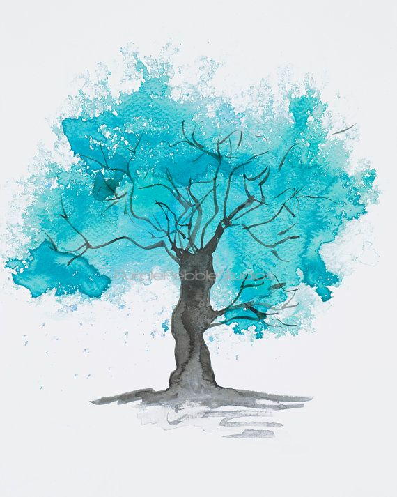 Fine Art Tree Print Teal Tree Watercolour By Purplepebblestudios