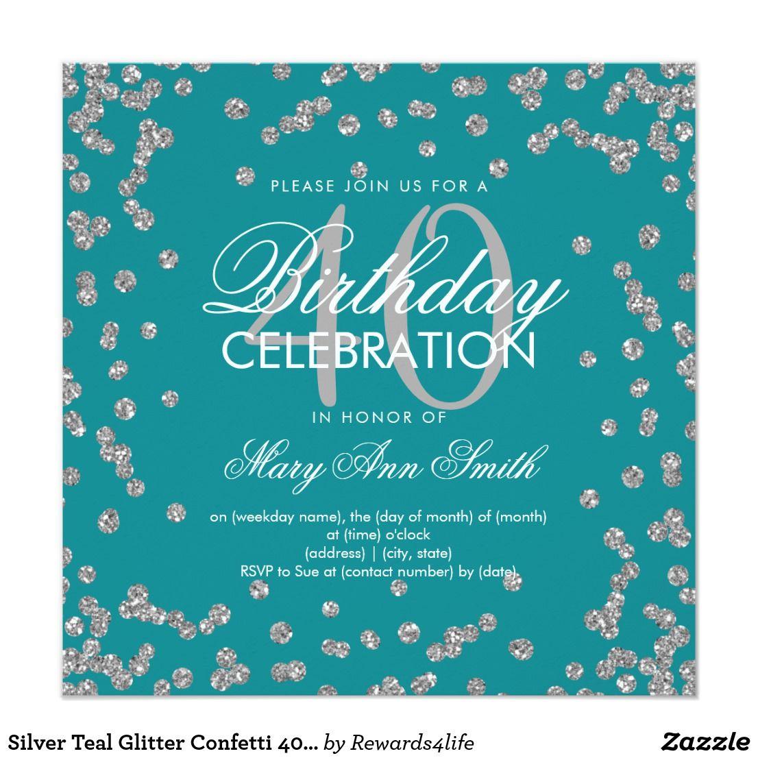 Silver Teal Glitter Confetti 40th Birthday Invitation