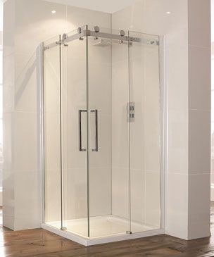 Aquaglass 900mm Corner Entry Shower Cubicle Sliding Doors With
