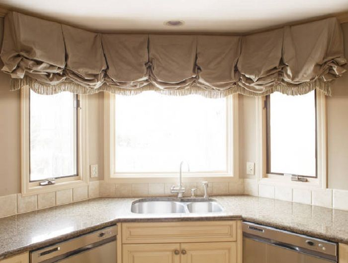 Bay window coverings balloon curtains shades valances for Bay window treatments for kitchen ideas