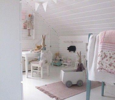 chambre bebe fille blanche sous pente tres epuree et soft | Kids ...