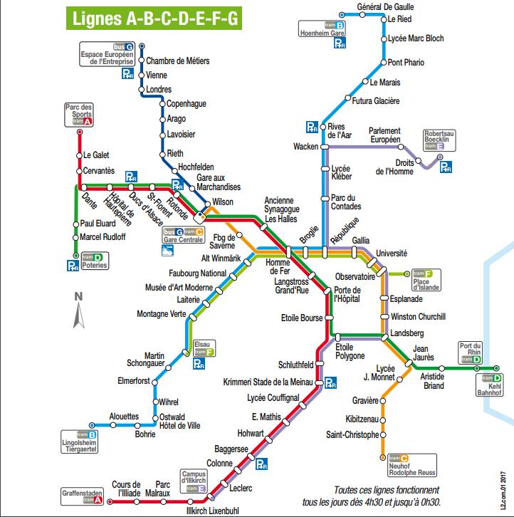 STRASBOURG Plan des lignes de tramways avril 2017 Transports