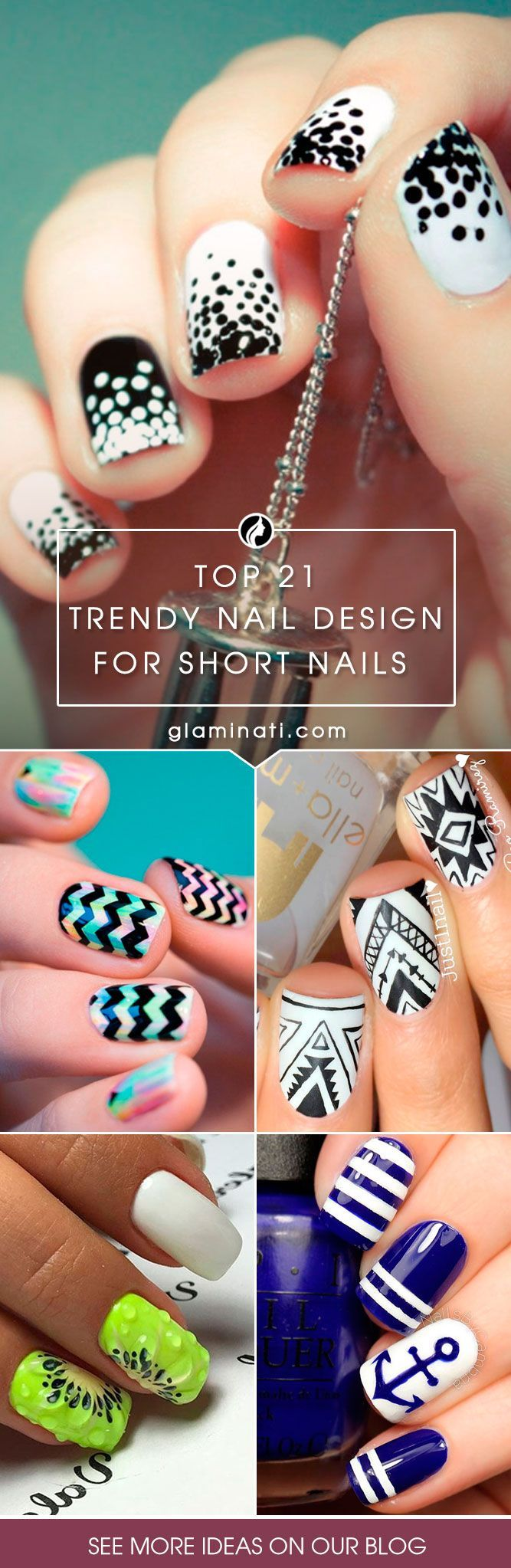 Top 24 Trendy Nail Designs For Short Nails Nail Design Pinterest