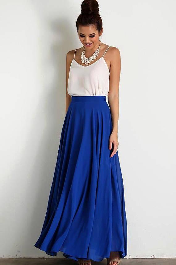 sale retailer custom new design Bridesmaid Women Long Blue Chiffon Maxi Circle Skirt, Women ...