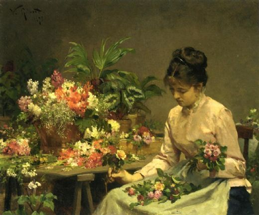 victor gabriel gilbert the flower seller painting