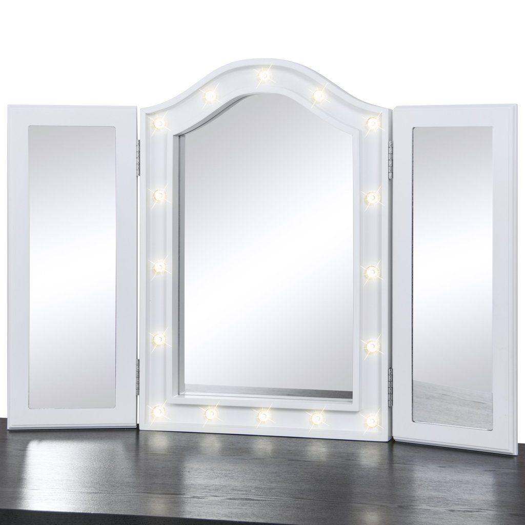 Lit Tabletop Tri Fold Vanity Mirror W Led Lights White Diy