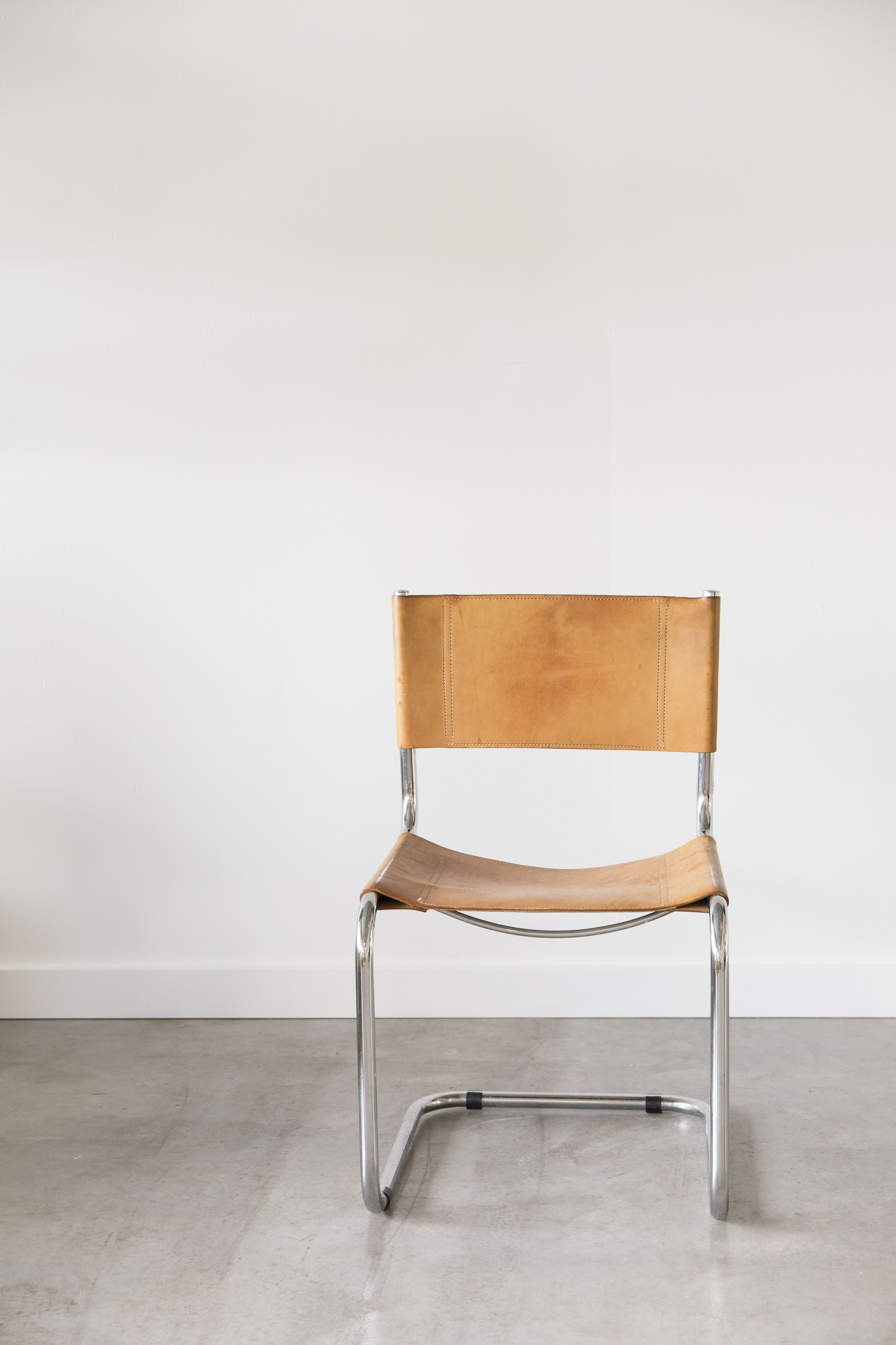 Fasem Chair Tan Leather with Silver Details Chair