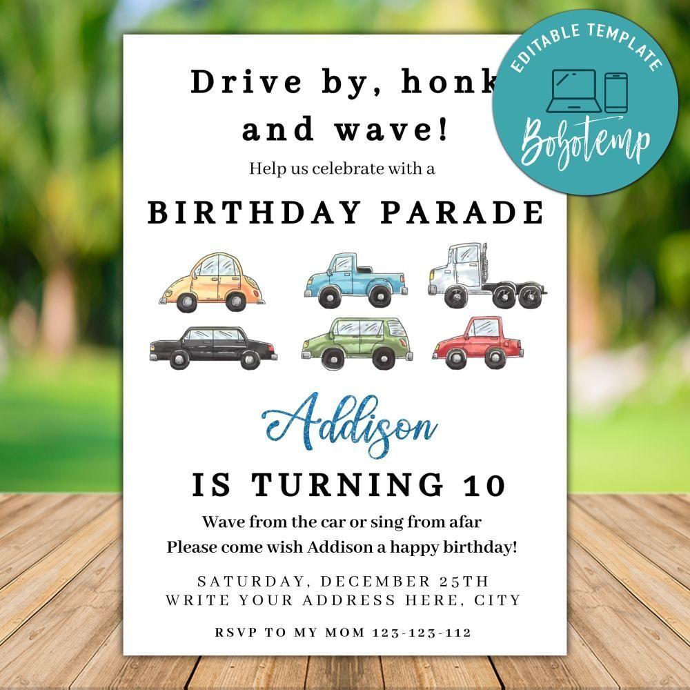 printable car parade birthday