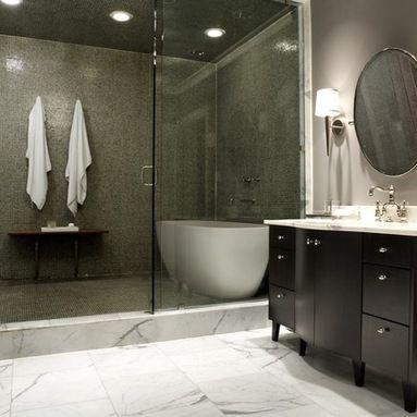 Jane Kim Design Industrial Bathroom By Jane Kim Design Shower Tub Stand Alone Tub Bathroom Trends