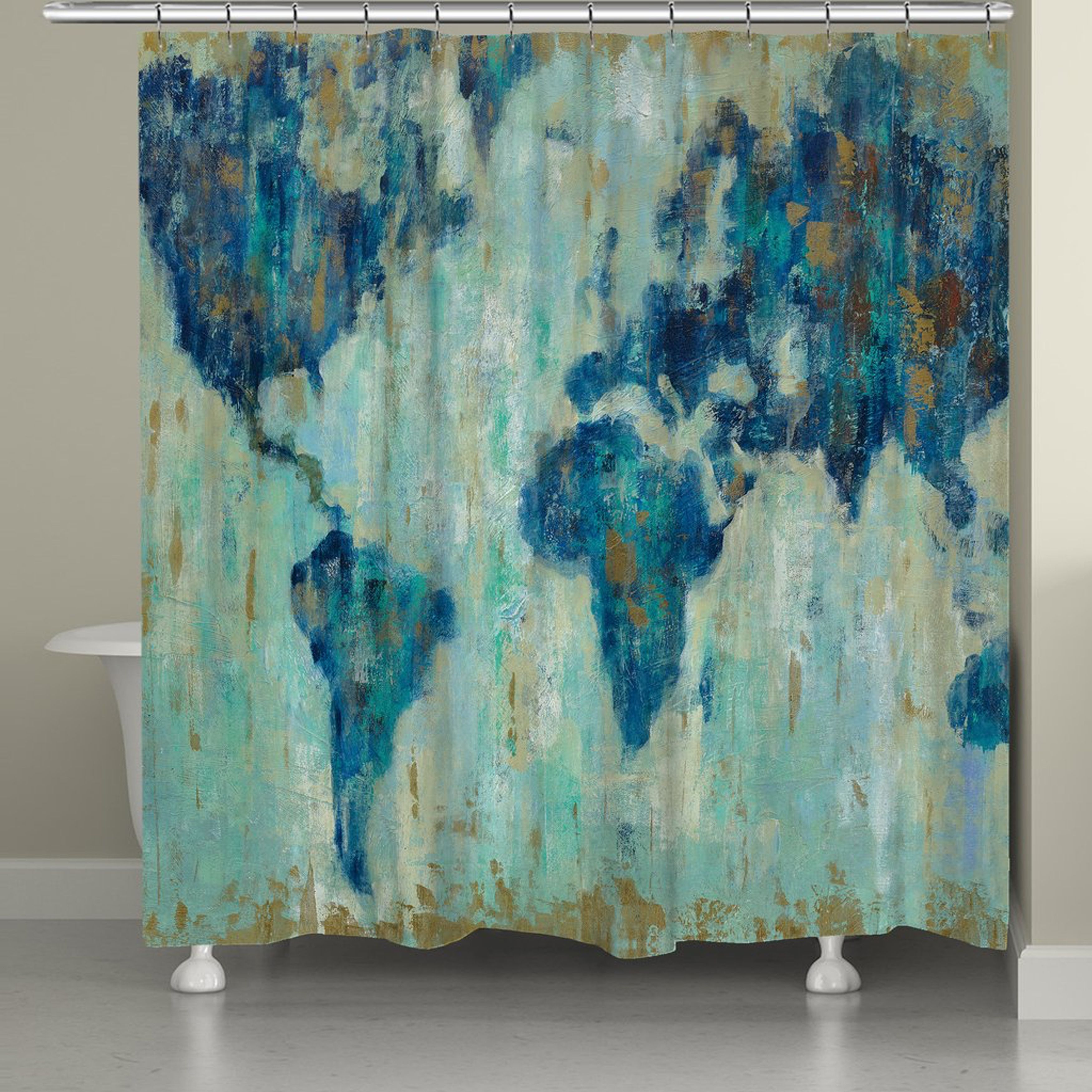 a gorgeous world map in shades of blue makes this laural home shower curtain the perfect