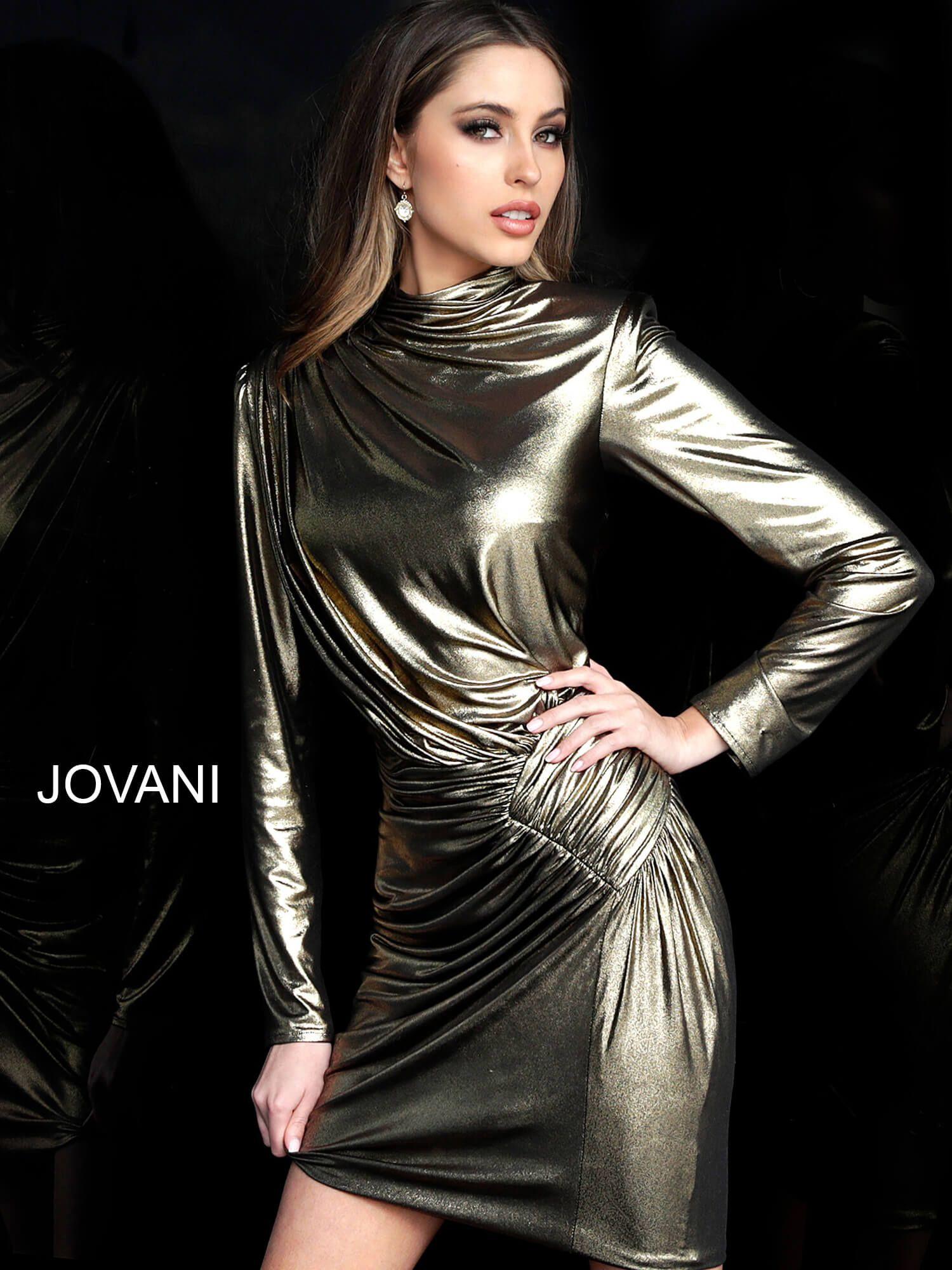 Gold high neckline long sleeve short dress m1702 in 2020