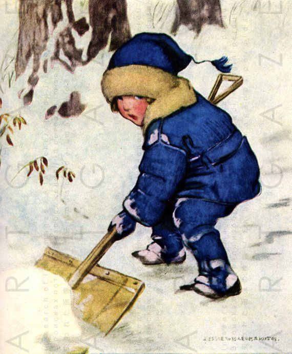 Helping Dad With The Snow Child Illustration Vintage Children