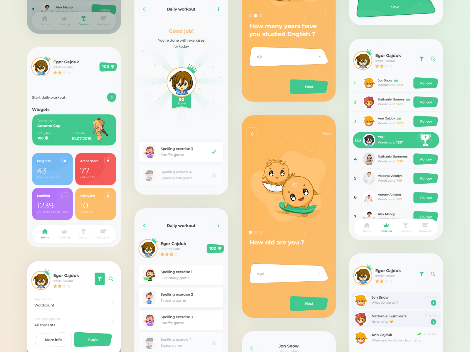 Learning Tournament Mobile Design Inspiration Motion Design