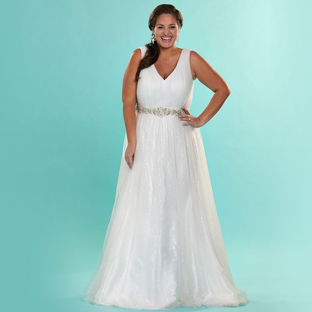Find a Shinning Beaded Sequin Plus Size Wedding Dresses V Neck ...