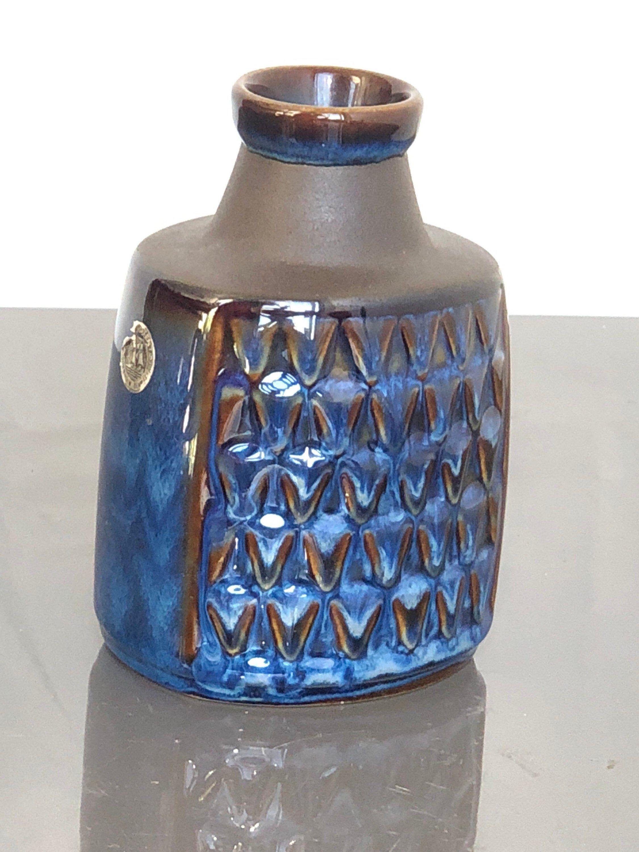 Mid Century Danish Stoneware Vase Blue Textured Vase Soholm Ceramic Denmark Design Einar Johansen Stoneware Vase Scandinavian Ceramic Modern Pottery