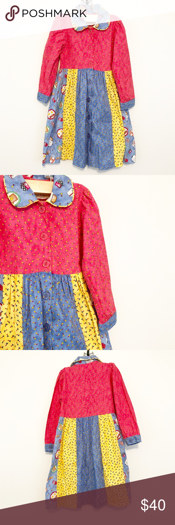 Vintage Chicken Noodle Breakfast Food Clown Dress This is precious! Pretty sure it's vintage, and it's in lovely condition. Very gently used. Features breakfast foods and a sort of clown-esque or vintage cut. Chicken Noodle Dresses Casual