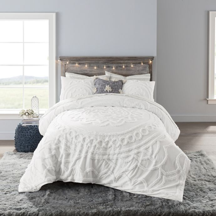 Anthology Tufted Medallion Twin XL Comforter Set In White