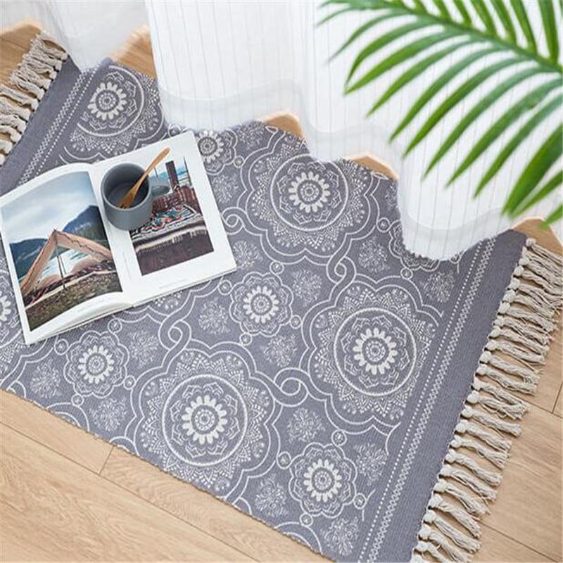 Photo of Handwoven Blue Oriental Carpet – Grey / 60x90cm