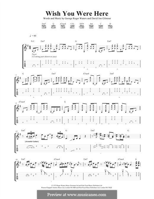 Wish You Were Here (Pink Floyd): For guitar with tab by David ...