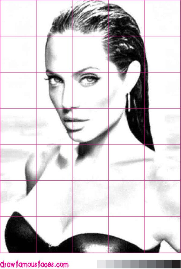 how to draw a portrait using a grid