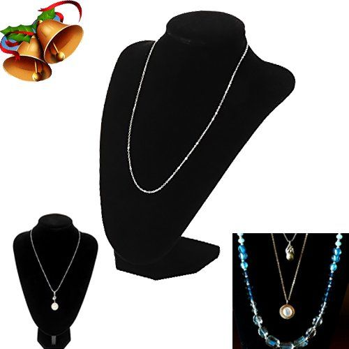 Adorox Black Velvet Necklace Pendant Chain Jewelry Bust D...