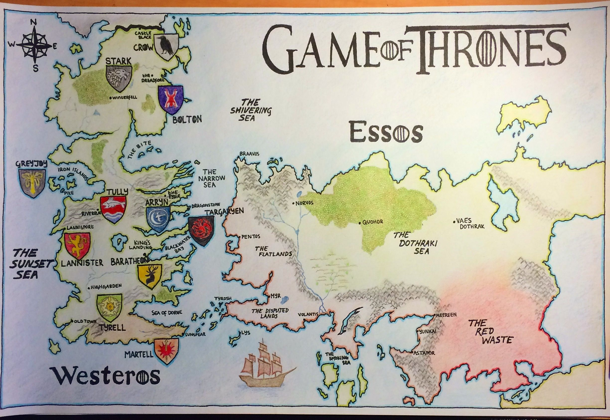 [No Spoilers] A map of Westeros and Essos. It's not ...