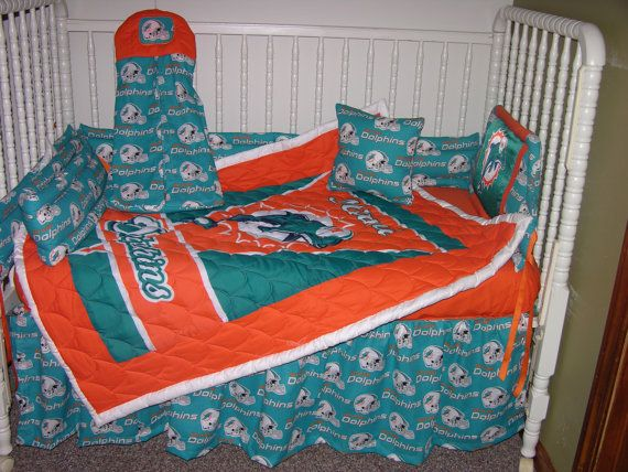 New Crib Nursery Bedding M W Miami, Miami Dolphins Crib Bedding Sets