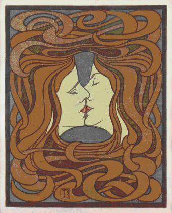 Die Gesichter des Paares befinden sich in der Mitte des Bildes, die Münder berühren sich, die umgebenden Haare sind in Jugendstil-Ornamentik dargestellt