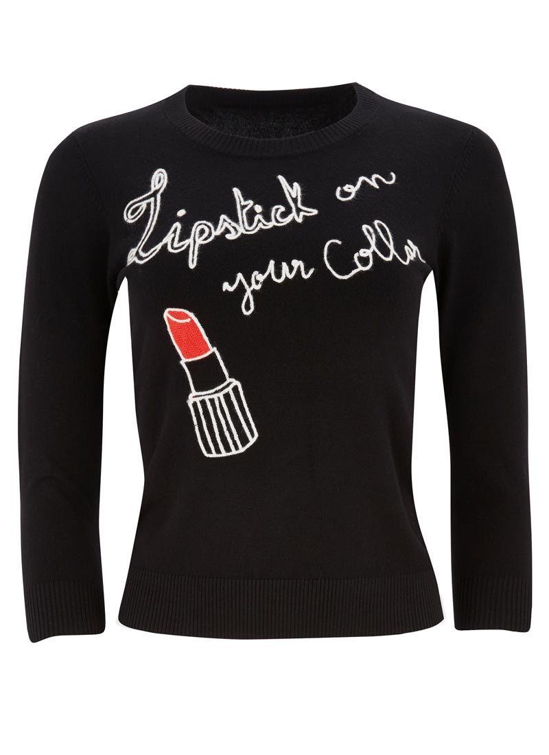 Dakota Lipstick Jumper Joanie Clothing Jumpers For Women Black
