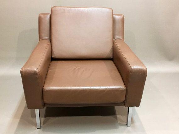 Fauteuil Cuir Marron Design Classique Scandinave Living Room - Fauteuil cuir marron design
