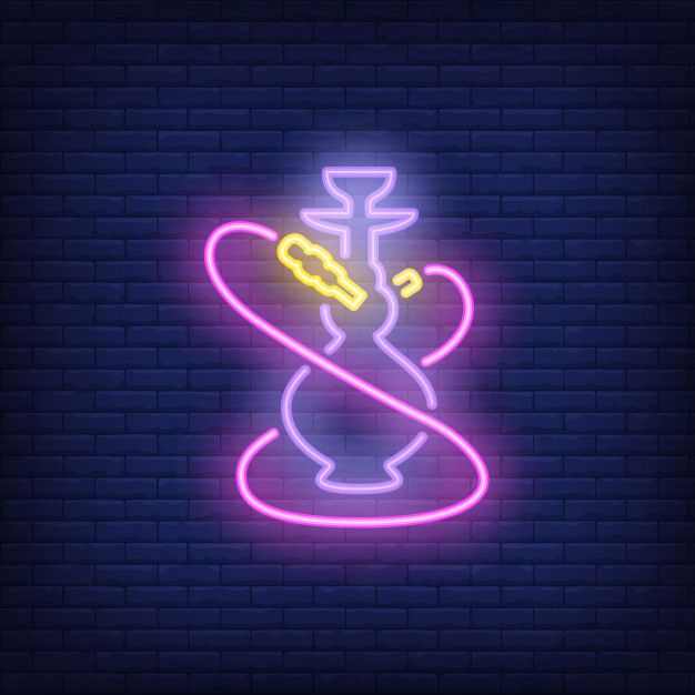 Download Neon Icon Of Hookah With Two Pink Hoses For Free S