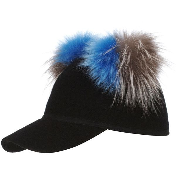 aa0a16c41e6 Charlotte Simone Sass Baseball Cap w  Two-Tone Fur Pom-Poms ( 190) ❤ liked  on Polyvore featuring accessories