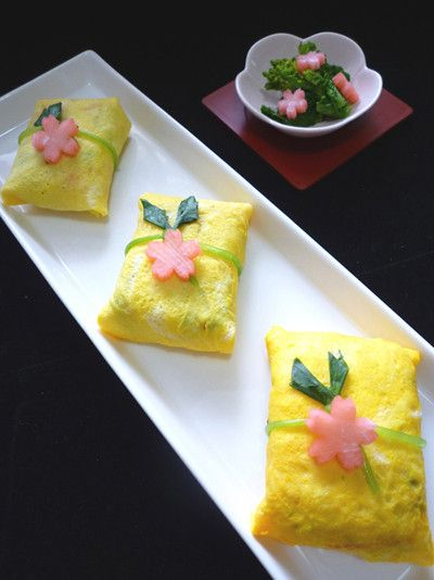 桜~ 茶巾寿司 - 美食多彩 飾り巻きずし