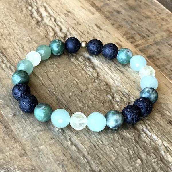 Photo of Love' Heart Chakra Aromatherapy Lava Rock and Gemstones Diffuser Bracelet