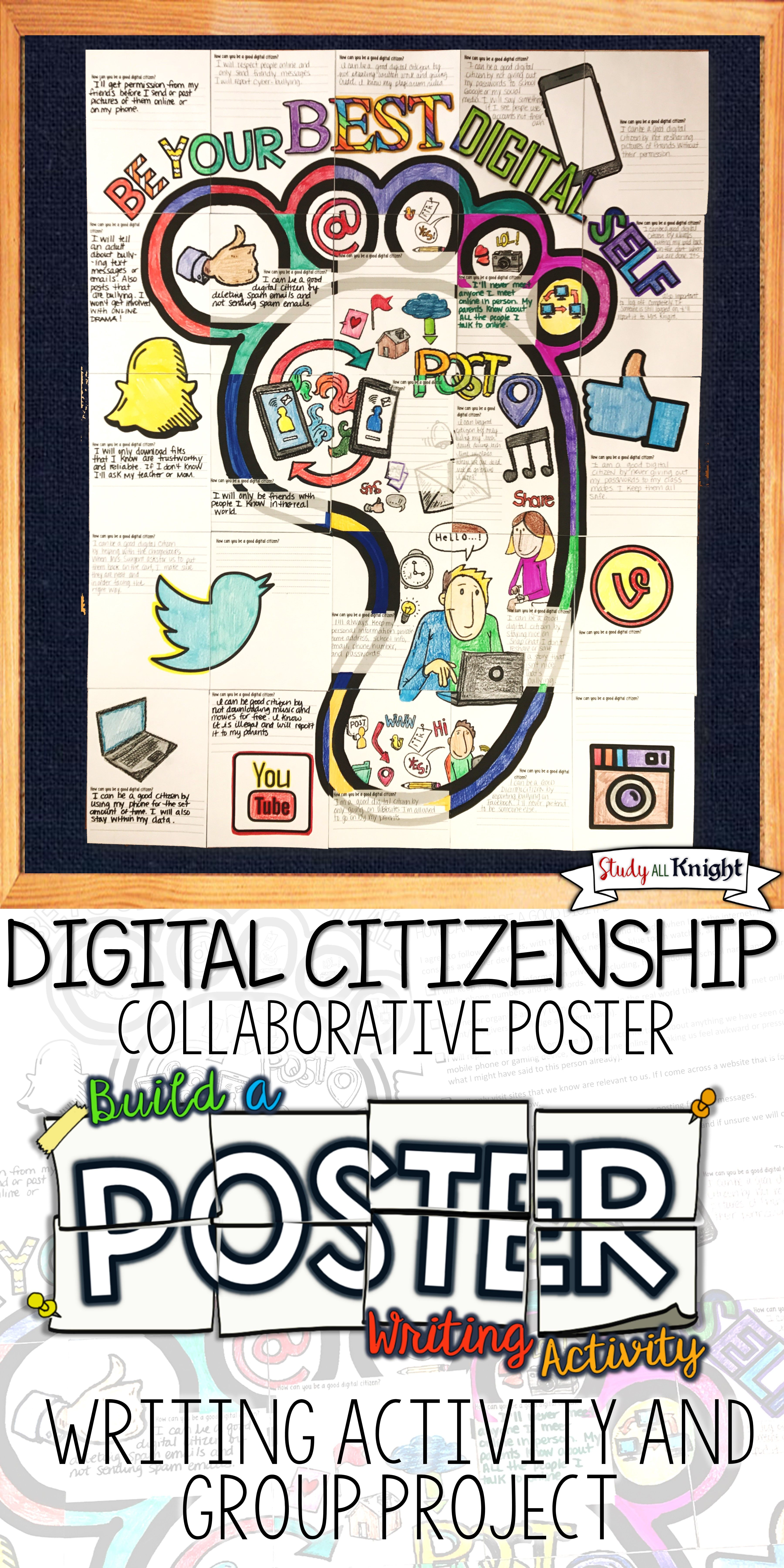 Digital Citizenship Writing Activity Poster Group