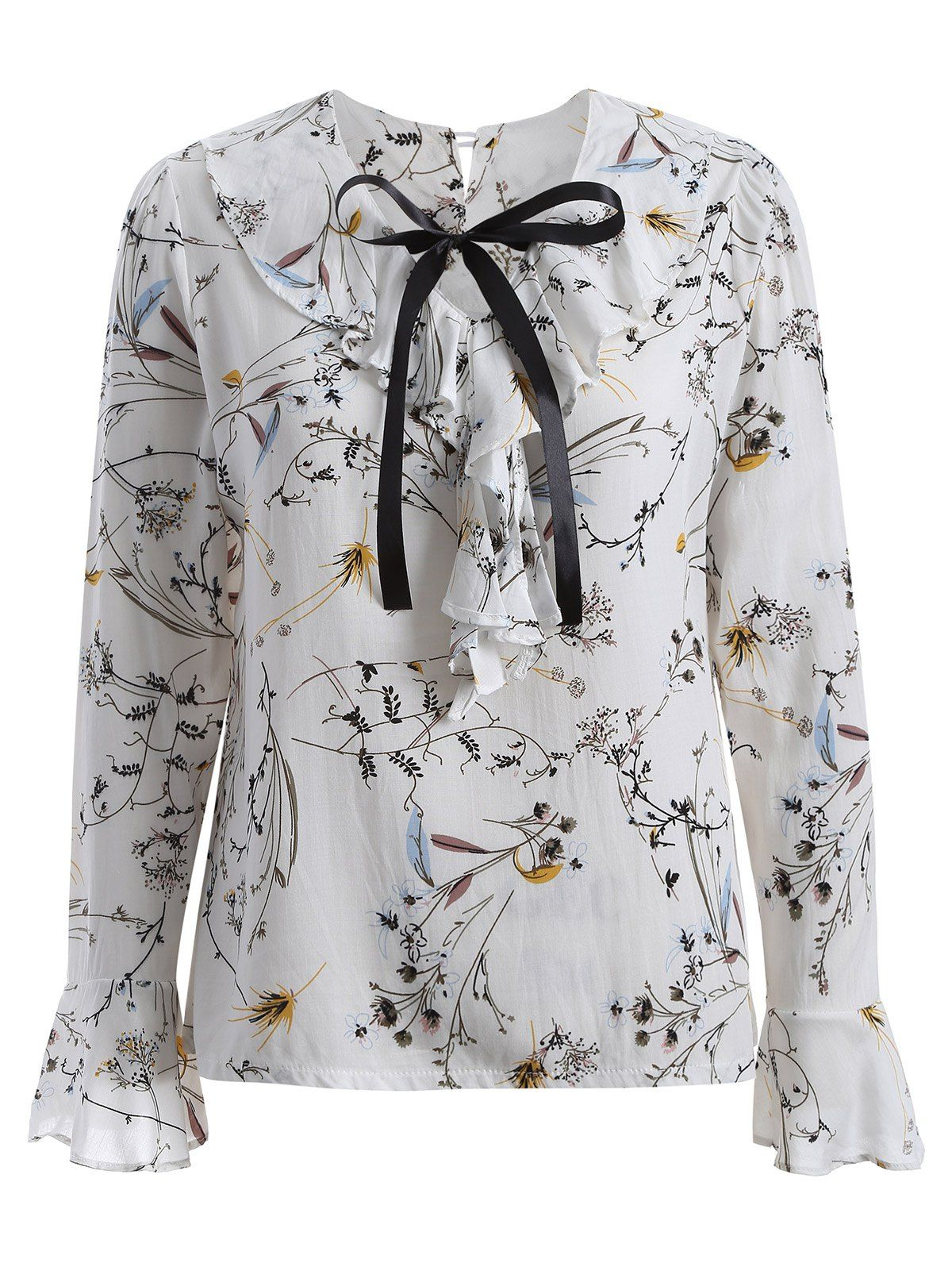 ab236864c35 Plus Size Flower Print Pussy Bow Blouse in White