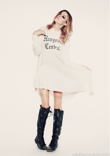wildfoxcouture:  Abbie in our Hangover Central hoodie dress