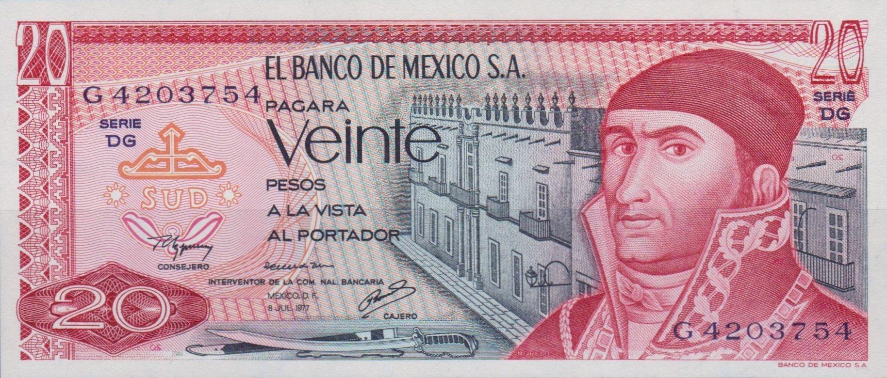 Mexico 20 Pesos Banknote