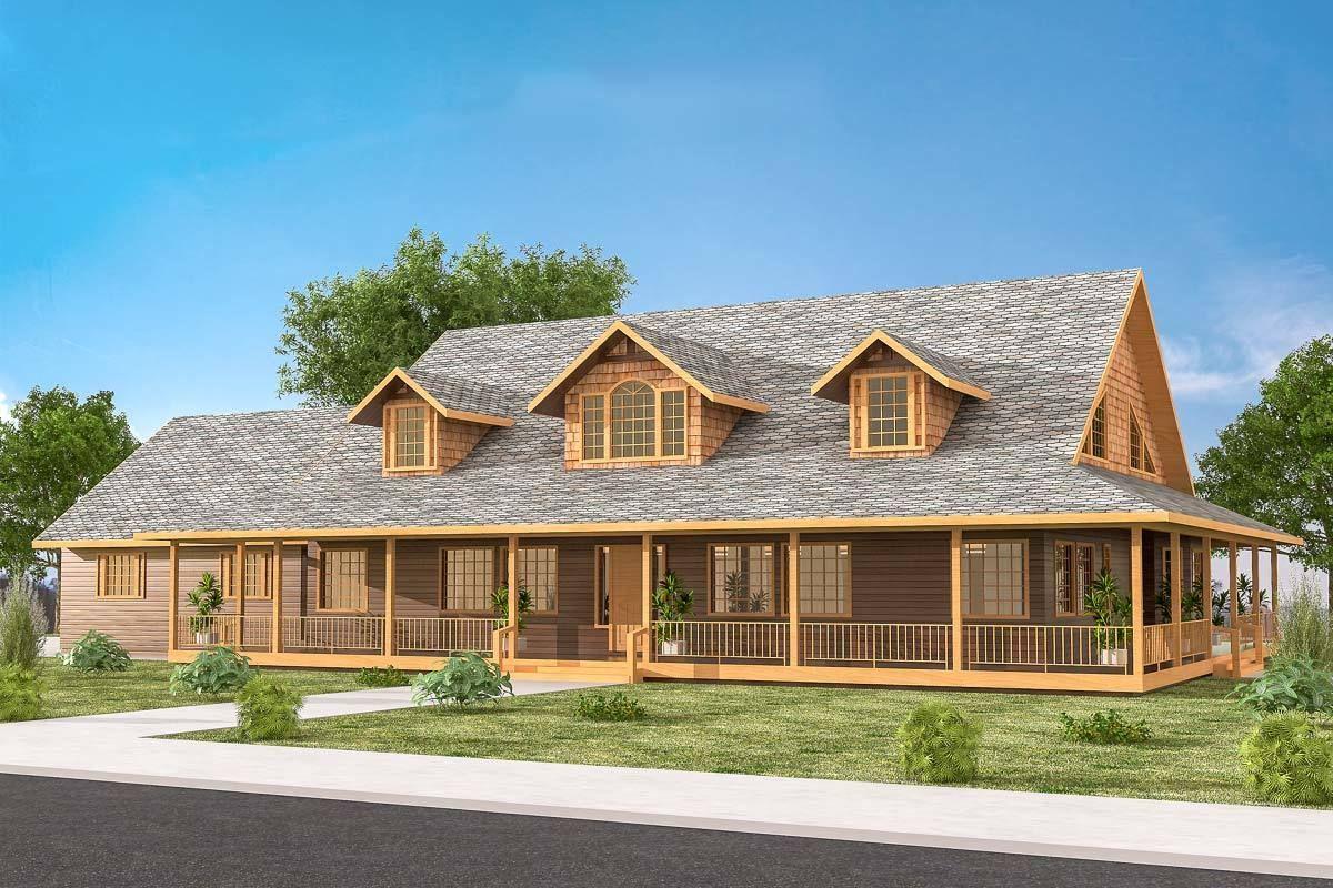 Plan 35437gh Fabulous Wrap Around Porch House Plans Farmhouse House Plan With Loft Porch House Plans