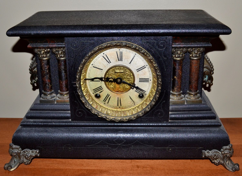 Timeless Carved Wood Antique Mantle Clock With A Porcelain Face Natick 10 24 15 Antique Mantle Clock Clock Mantle Clock